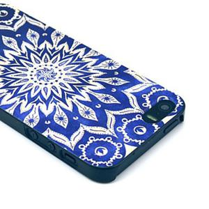 Kinston Blue Sunflower Pattern PC Phone Back Cover Case for iPhone SE / 5 / 5S -