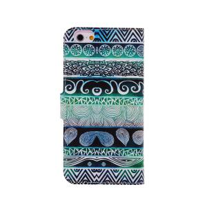 Kinston Green Totems Pattern PU and PC Material Protective Cover Case with Stand and Card Holder for iPhone 6 - 4.7 inch -