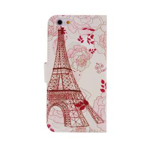 Kinston Flower Tower Pattern PU and PC Material Protective Cover Case with Stand and Card Holder for iPhone 6 - 4.7 inch -