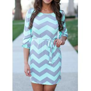 Zigzag Shift Tunic Dress with Belt