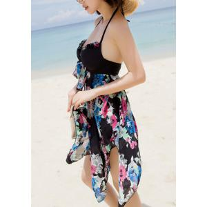 Stylish Halter Sleeveless Printed Asymmetrical Women's Swimsuit -