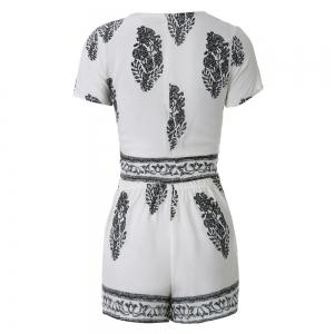 Stylish Jewel Neck Short Sleeve Print Suit For Women -