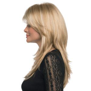 Sophisticated Human Hair Fashion Side Bang Long Straight Charming Capless Wig For Women -