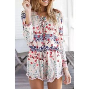 Long Sleeve Lace Up Printed Romper