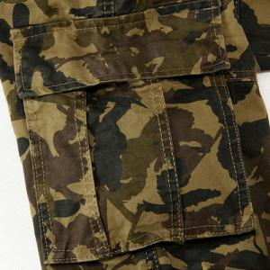Camouflage Straight Leg Zipper Fly Multi-Pocket Sutures Loose Fit Military Style Men's Long Cargo Pants -