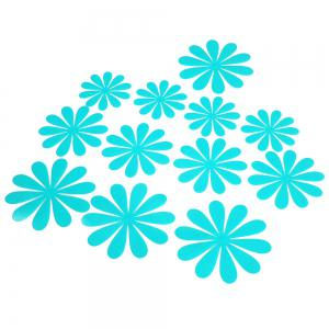 DIY 3D Flowers Wall Sticker Mirror Art Decal PVC Paper for Home Showcase - 12Pcs -