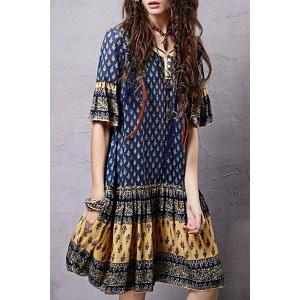 Stylish V Neck Half Sleeve Ethnic Print Women's Dress -