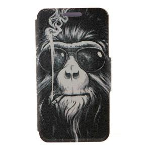 Kinston Smoking Monkey Pattern PU Leather Full Body Cover with Stand for iPhone 6 - 4.7 inch - Colormix - Butterfly Hand