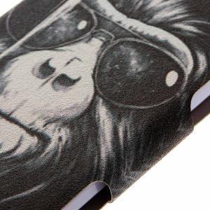 Kinston Smoking Monkey Pattern PU Leather Full Body Cover with Stand for iPhone 6 - 4.7 inch - COLORMIX