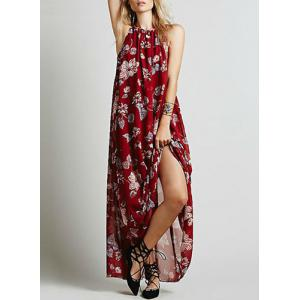 Floral Chiffon Maxi Backless Flowy Casual Dress