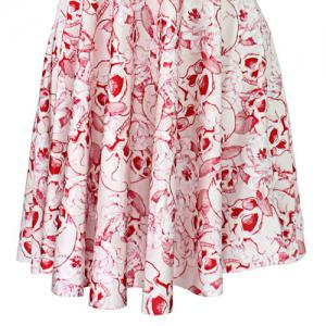 Sweet Pink Skull Printed Pleated Elastic Dress For Women -