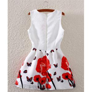 Fashionable Sleeveless Butterfly Print Flare Dress For Women -