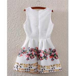 Fashionable Sleeveless High-Waisted Floral Print Flare Dress For Women - WHITE S