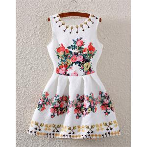 Fashionable Sleeveless High-Waisted Floral Print Flare Dress For Women - White - S