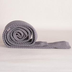 Stylish Gray Knitted Neck Tie For Men -