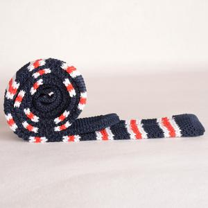 Stylish Various Stripe Pattern Color Splice Knitted Neck Tie For Men - BLUE AND RED