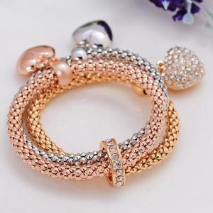 Rhinestone Heart Layered Bracelet - GOLDEN