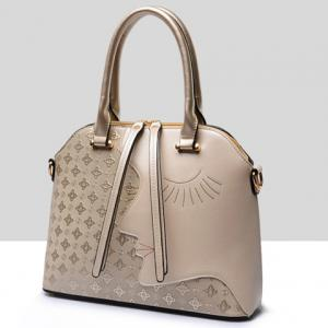 Color Block Metallic Handbag Set - GOLDEN