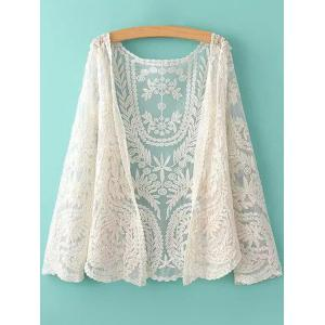 See-Through Leaves Pattern Lace Long Sleeve Blouse - Off-white - One Size(fit Size Xs To M)