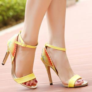 Graceful Printed and Ankle Strap Design Women's Sandals -