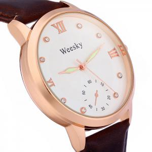 Weesky Luminous Pointer Diamond Women Quartz Watch with Golden Case Decorative Sub-dial Leather Strap -