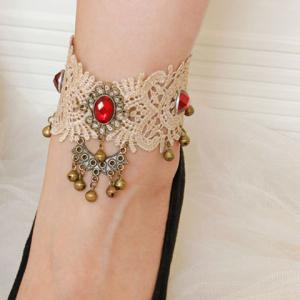 Lace Faux Gem Bell Pendant Flower Anklet - Golden