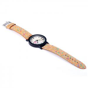 Weesky Retro Flower Dial Quartz Watch with Leather Band for Women -