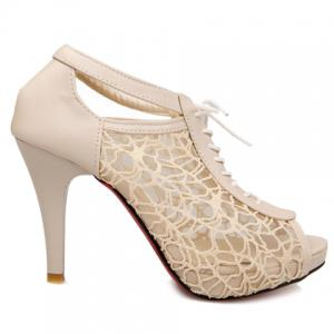 Graceful Gauze and Hollow Out Design Women's Peep Toe Shoes -