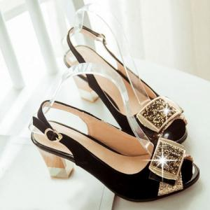 Graceful Sequined and Suede Design For Women's Peep Toe Shoes -