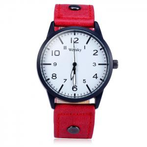 Weesky 1203G Arabic Numerals Scales Male Quartz Watch with Leather Band -
