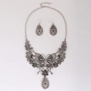 A Suit Chic Floral Butterfly Pendant Necklace And Earrings For Women - SILVER GRAY