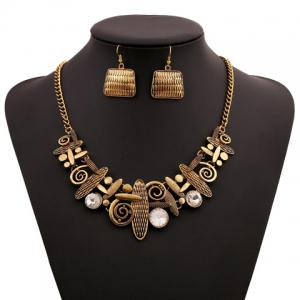 A Suit Hyperbolic Beads Geometric Handbag Pendant Necklace And Earrings For Women