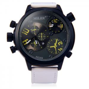 Miler A8269 Double Movt Date Display Male Quartz Watch with Decorative Sub-dials Leather Strap -