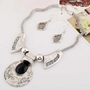 A Suit Classic Faux Gem Printed Drop Necklace And Earrings For Women -