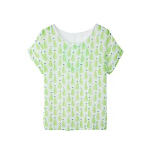 Casual Style Scoop Neck Short Sleeve Pear Print Women's T-Shirt -