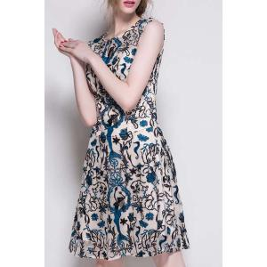 Casual Various Embroidered Gauze Spliced A-Line Dress For Women -