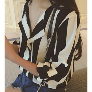 Stylish Turn-Down Collar Long Sleeve Vertical Striped Loose-Fitting Blouse For Women -