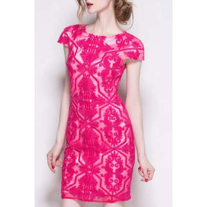 Attractive Solid Color Hollow Out Embroidered Lace Dress For Women