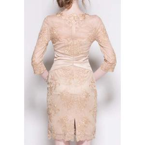 Stylish Solid Color Flower Embroidered Waist Rhinestone Dress For Women -