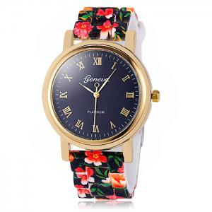 Jijia Printed Silicone Strap Women Quartz Watch with Golden Case -