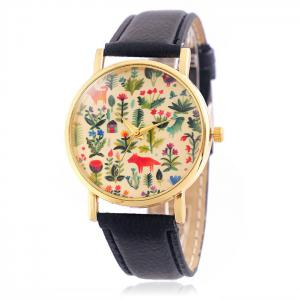 Jijia SG1251 Golden Case Women Quartz Watch with Leather Strap Flower and Animal Face -