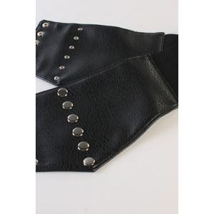 Chic Stud PU Leather Elastic Waistband For Women -