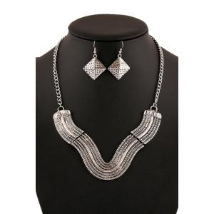 Chic V Shape Geometric Necklace And Earrings For Women
