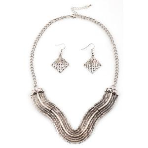 Chic V Shape Geometric Necklace And Earrings For Women - SILVER