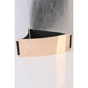 Elastic Mirror Waist Belt with Metal Plate - Black - 4xl