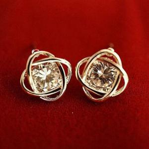 Hollowed Flower Rhinestone Stud Earrings - COLOR ASSORTED