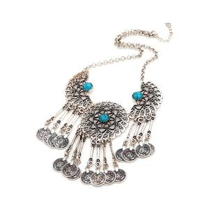 Retro Coin Tassel Pendant Necklace For Women