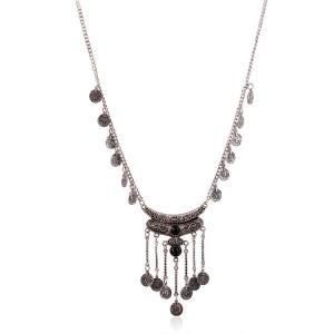 Chic Resin Coin Pendant Necklace For Women - BLACK