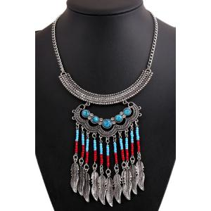 Retro Turquoise Leaves Shape Pendant Necklace And Earrings For Women - SILVER