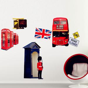 London Sreet Scene PVC Removable Wall Art Decal Sticker - COLORMIX